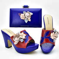 Free shipping royal blue shoes matching bag set in royal blue color with many flowers nice fashion shoes and bag set SB8404 5