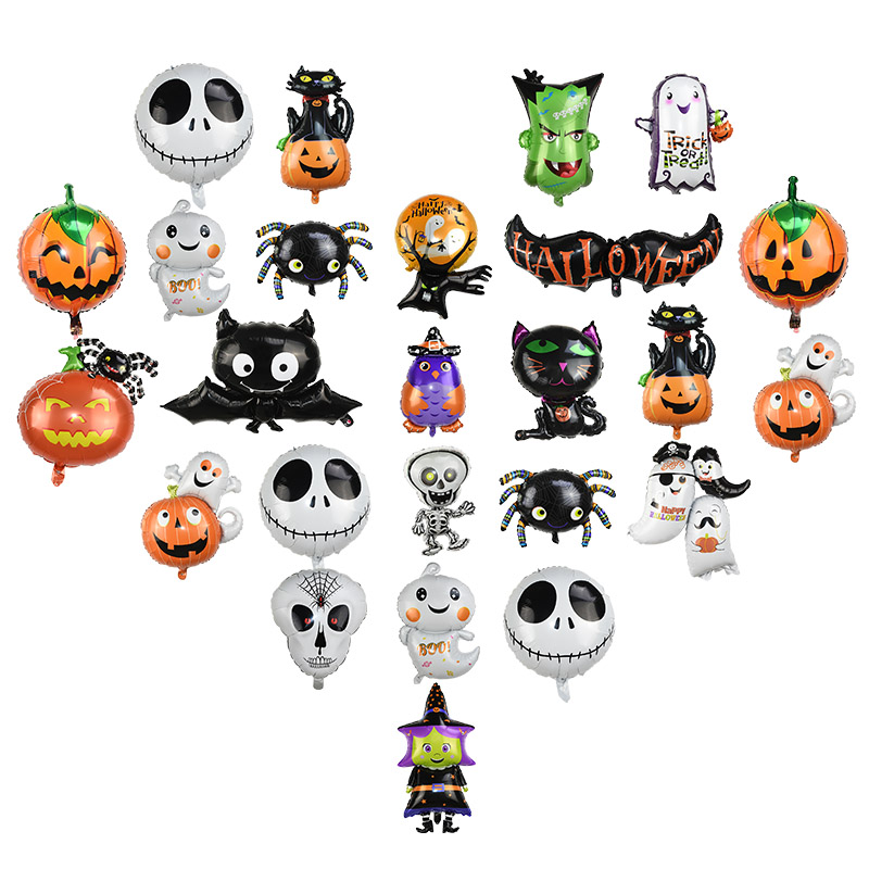Happy Halloween Pumpkin Ghost Spider Bat Skull Shape Foil Balloons for Halloween Party Favor Helium Globos Decoration Supplies 8 in Ballons Accessories from Home Garden
