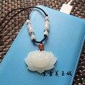 Natural white jade pendant and Tian Yuyu lotus blossoming Pendant