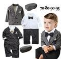 Мальчики свадебный формальные костюмы 3 шт. господа одежда установить в шляпе 2 цвета черный и плед шляпу + ползунки + куртка терно infantil