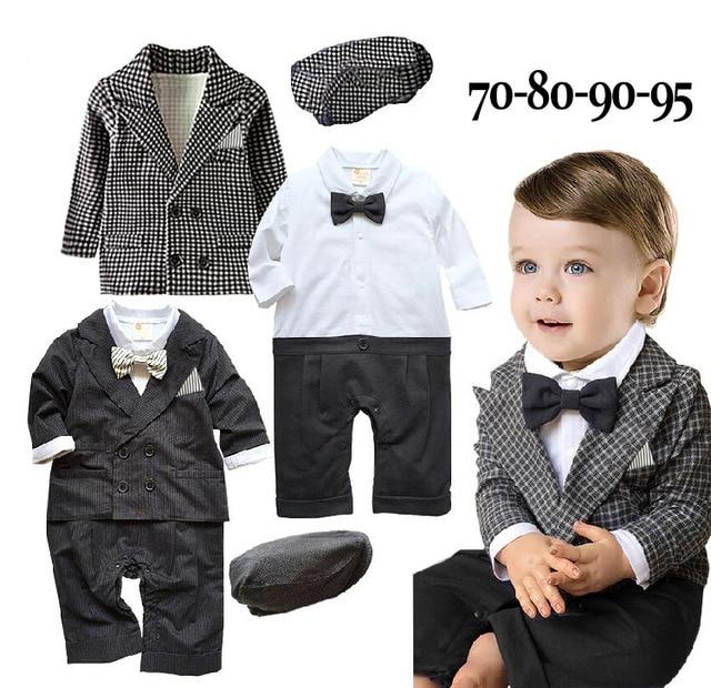 Baby boys wedding  formal suits 3pcs gentlemen clothing set with hat  2 colors black and plaid hat+romper+jacket terno infantil