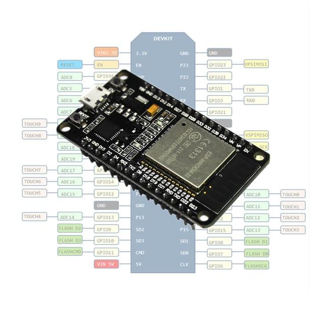 ESP32 Development Board ESP-WROOM-32 WiFi and Bluetooth Ultra-Low Power Consumption Dual Cores ESP-32 ESP-32S Board