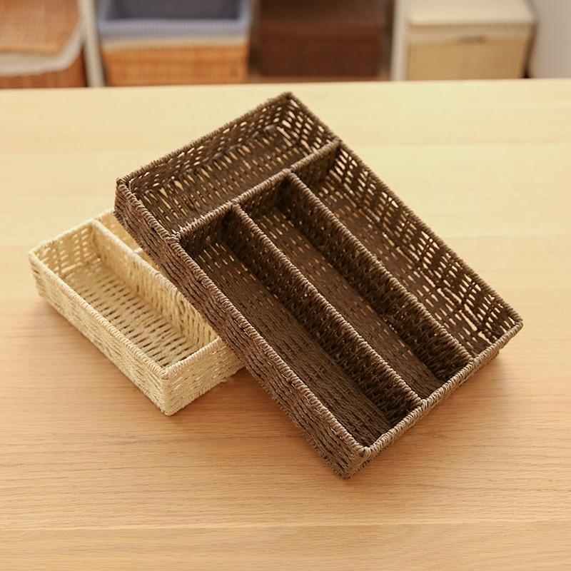Multi-grid Woven Debris Storage Box Desktop Office Porch Dressing Table Coffee Table Storage Box 31*21*5CM/12.2*8.2*2IN Box