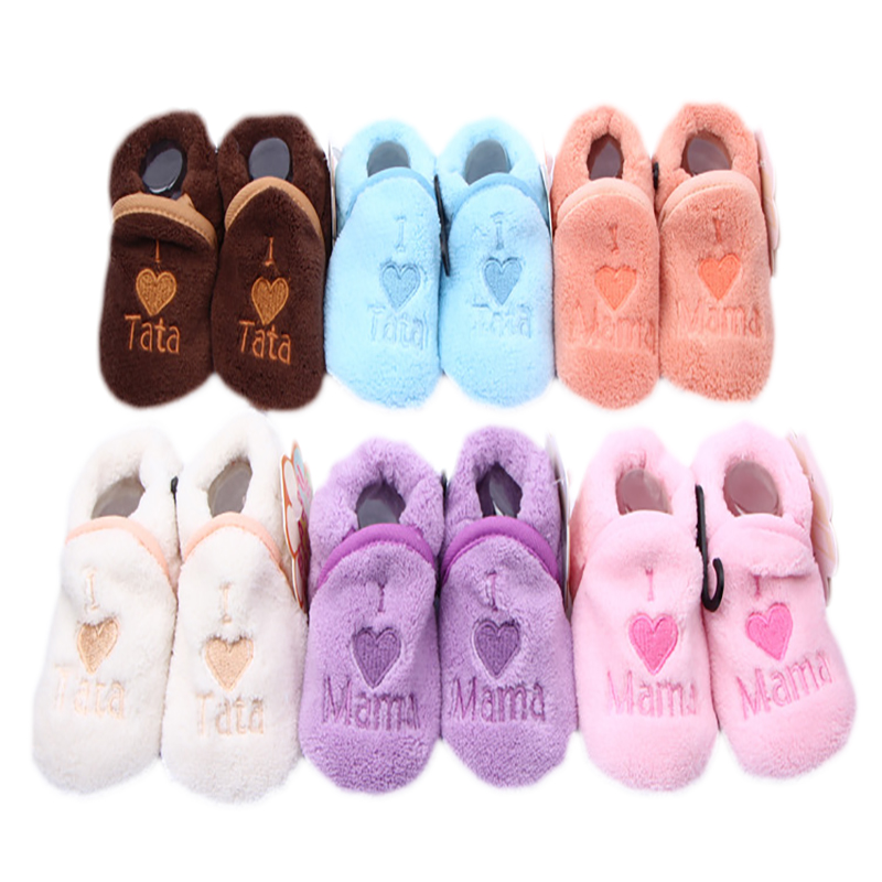 Super Cute Baby Girls Shoes Kids Children Winter Warm Plush Booties Infant Soft Slipper I Love TATA MAMA Crib First Walkers