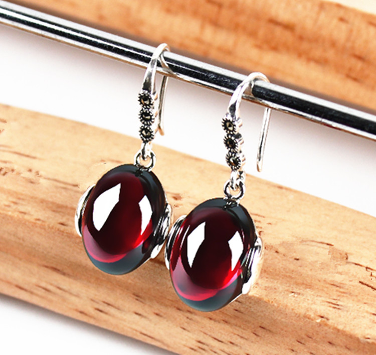 925 silver retro female Garnet Earrings Ruby earring Earrings Korean female temperament anti allergy 925 silver earrings female teardrop shaped earrings stylish temperament earrings