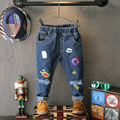 2016 New Fashion Kids Jeans Baby Girls&Boys Elastic Waist Straight Cartoon Jeans Autumn Children Denim Pants Ripped Jeans 2-7Y