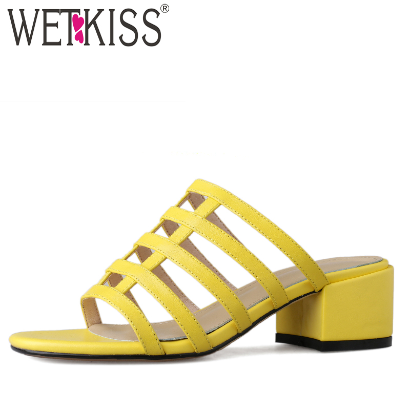 WETKISS High Heels Slippers Woman Open Toe Footwear Fashion Cow Leather Slides Shoes Female Mules Shoes