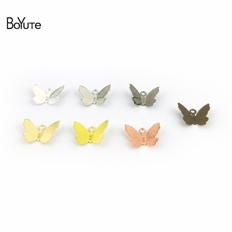 BoYuTe 100Pcs 1113MM Butterfly Charms Diy Hand Made Metal Brass Accessories Parts for Hair Jewelry Making (4)