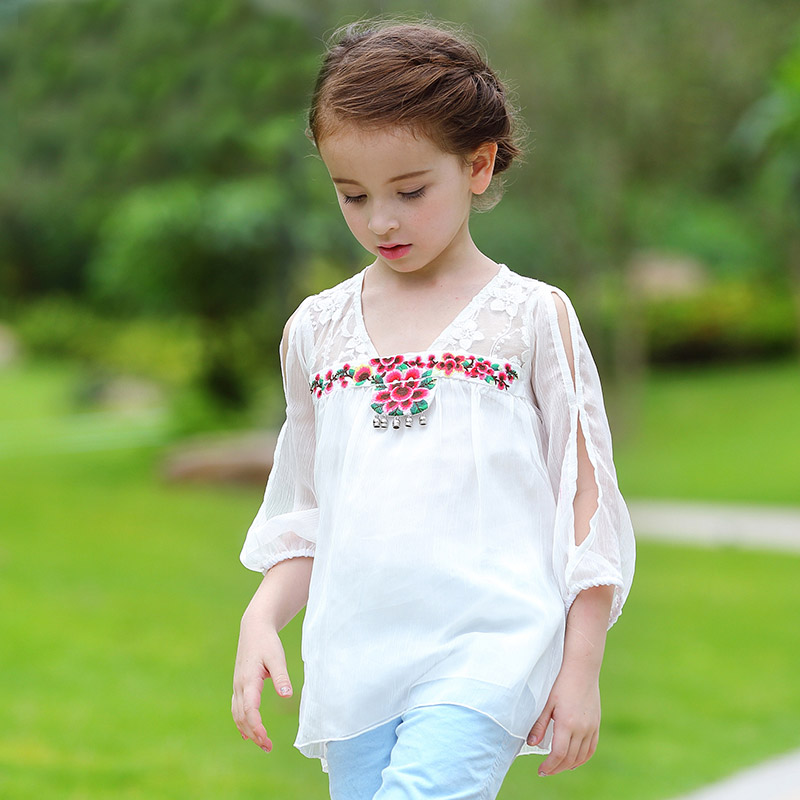 Baby Girls TShirt summer Long Sleeve Chiffon Kids Girl Tee Shirt Original Design Fashion Tops Children Clothes Outwear 4-11 year