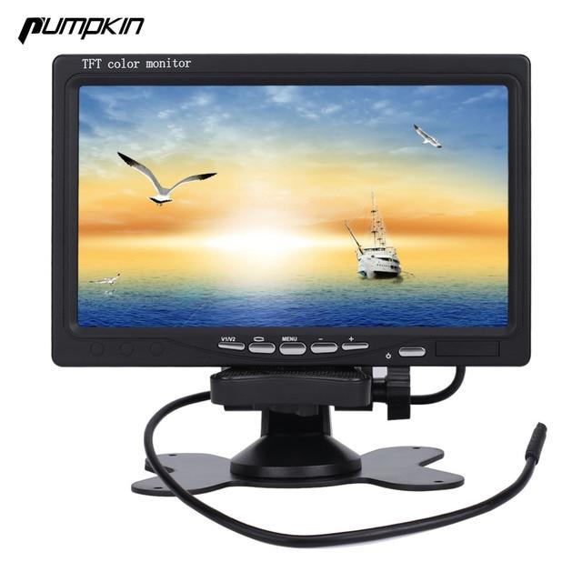 New Pumpkin 7 inch 16:9 Car TFT LCD Analog TV Stand Alone Monitor Digital Car Rear view Monitor Camera Car Headrest DVD Player