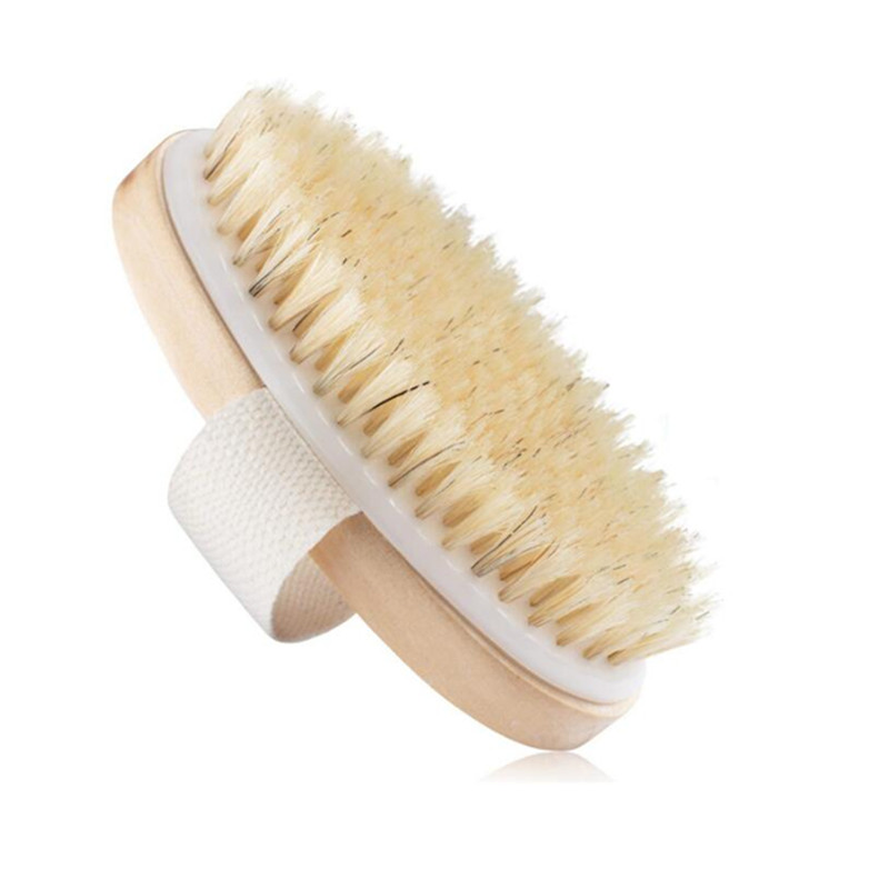 Oval Body Dry Brush Natural Boar Bristle Organic Dry Skin Body Brush Bamboo Wet Back Shower Brushes Exfoliating Bathing Brush