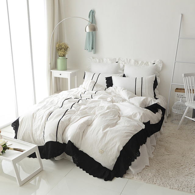 ca648731cd Black Lace Cotton Soft Bedclothes Korean White Bedding sets King Queen Twin  Size Kids Girls Bed set Duvet cover Bed sheet set