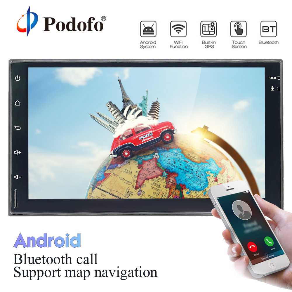 Podofo 2 Din Android 8.0 Car Radio GPS Navigation Universal WiFi Bluetooth 7 HD Touch Screen Audio Stereo Radio No DVD Player 7 android 8 0 8octacore px5 4gram 32grom car no dvd radio 2din universal gps navigation stereo audio hd 1024 600 wifi bluetooth