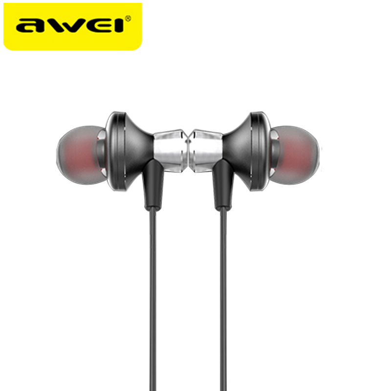 AWEI A860BL Metal Bluetooth Earphone Wireless Headphones Magnetic Headset For Phones Super Bass Stereo Earphones For iPhone 6 7 m320 metal bass in ear stereo earphones headphones headset earbuds with microphone for iphone samsung xiaomi huawei htc