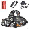Boruit rj-3001 9000 lumen 3t6headlamp usb al aire libre lámpara de cabeza faro recargable + 2*18650 batería/cargador/cargador de coche cargador