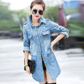 2016 New Europe Fashion Spring Autumn Loose Trench Coat Long Sleeve Holes Washing Denim Women Single-breasted Coats