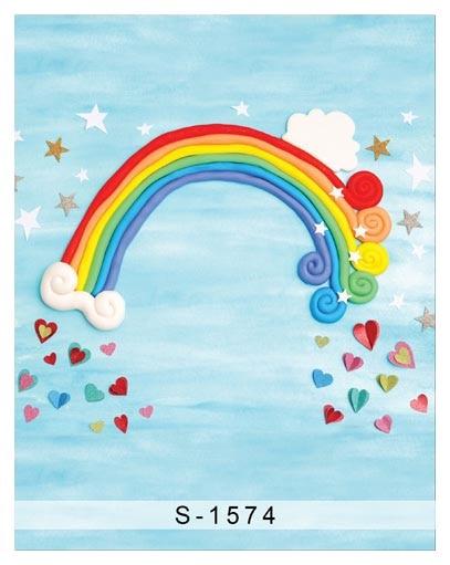 Aangepaste vinyl doek cartoon regenboog fotografie achtergronden voor - Camera en foto - Foto 2