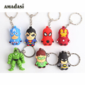 10pcs/lot Captain America 3 keychains Super Hero Avengers Keychain Spider Man key chain Batman Green Lantern Pendant Key Ring
