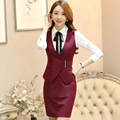 Adjustable Waist Formal Waistcoat Belt veste Red femme vest women down coat jackets ladies OL business suit 2 piece clothing