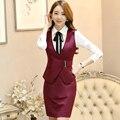 Cintura ajustable Cinturón Formales Chaleco veste femme Rojo chaleco de las mujeres abajo cubren las chaquetas de las señoras OL traje de negocios 2 unidades de ropa