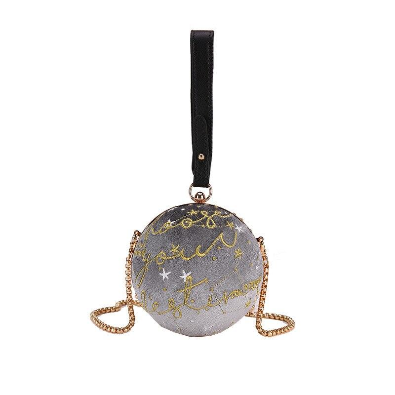 2ec422658dec Роскошная модная синяя планета бархатная Звезда шар сумка на плечо женская  маленькая круглая велюровая сумка личность женская сумка