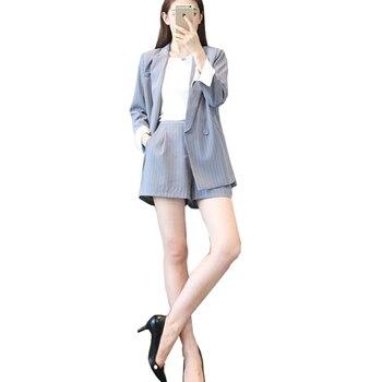 Plus Size Blue Blazer | Professional Set Women Pant Suits 2020 Summer Temperament Stripe Blue Office Lady Blazer With Short Pants Plus Size Work Wear