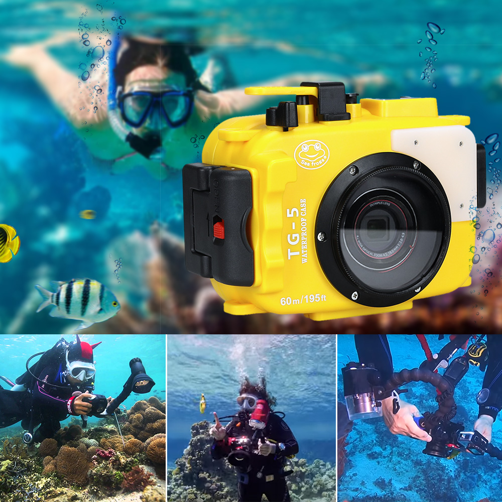 Seafrogs Voor Olympus TG 5 Case 60 m/195ft TG5 Onderwater Duiken Camera Behuizing Waterdichte Case met Dual Fiber optic poorten - 3