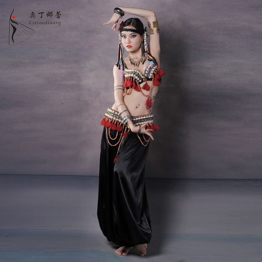 New Belly Dance Costume Beading Performance Belly Outfit For Women Belly Dance Tribe Costumes Clothing Set