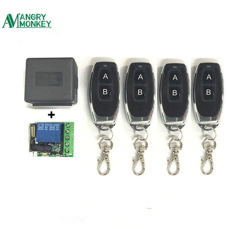 433 Mhz universel sans fil commutateur à distance DC 12V 1CH relais récepteur Module et 4 pièces RF émetteur 433 Mhz télécommandes