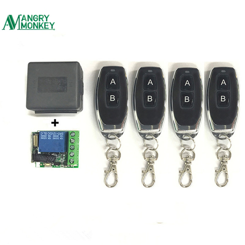 433Mhz Universal Wireless Remote Switch DC 12V 1CH relay Receiver Module and 4 pieces RF Transmitter 433 Mhz Remote Controls