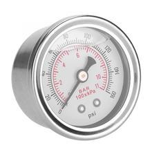 0-160 фунтов/кв. дюйм/бар автомобильный регулятор давления топлива Манометр жидкостного заполнения топлива/масла измеритель давления заполненный жидкостью манометр