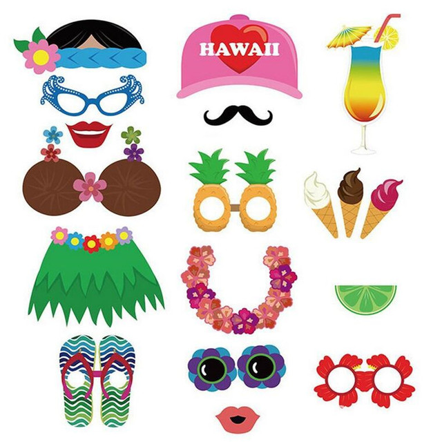 Funny 60pcs Set Luau Hawaii Photo Booth Props Native Gr Skirt On A Stick