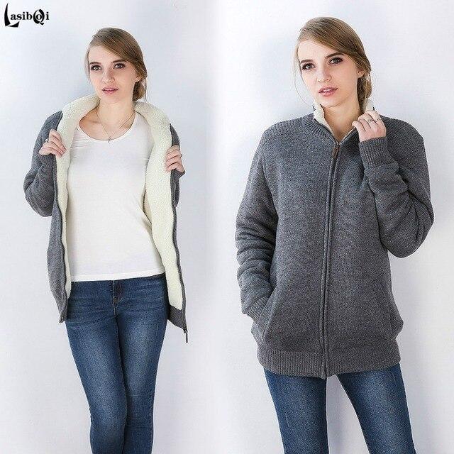 Qualidade extra grandes quintais das mulheres aumentar espessamento cashmere dentro zipper cardigan casaco pullover camisola Ms plus size gordura