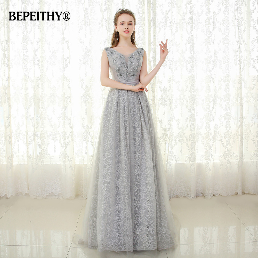 BEPEITHY V-neck Sliver Lace Long   Evening     Dress   Vestido De Festa Lace-up Back Crystal Elegant Prom   Evening   Gowns 2019