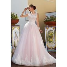 Hot Selling Pink Wedding Dress Lace Up Back Exquisite Appliques Custom Made Country Garden Floor Length Bridal Gown