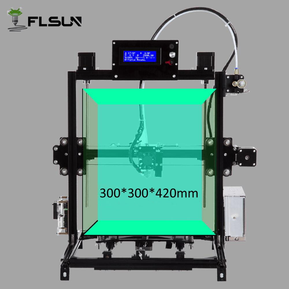Flsun I3 DIY 3D Printer kit Large Printing Area 300*300*420mm Autolevel Dual Extruder Open Build Aluminium 2017 classic tevo tarantula i3 aluminium extrusion 3d printer kit 3d printing 2 roll filament sd card titan extruder as gift