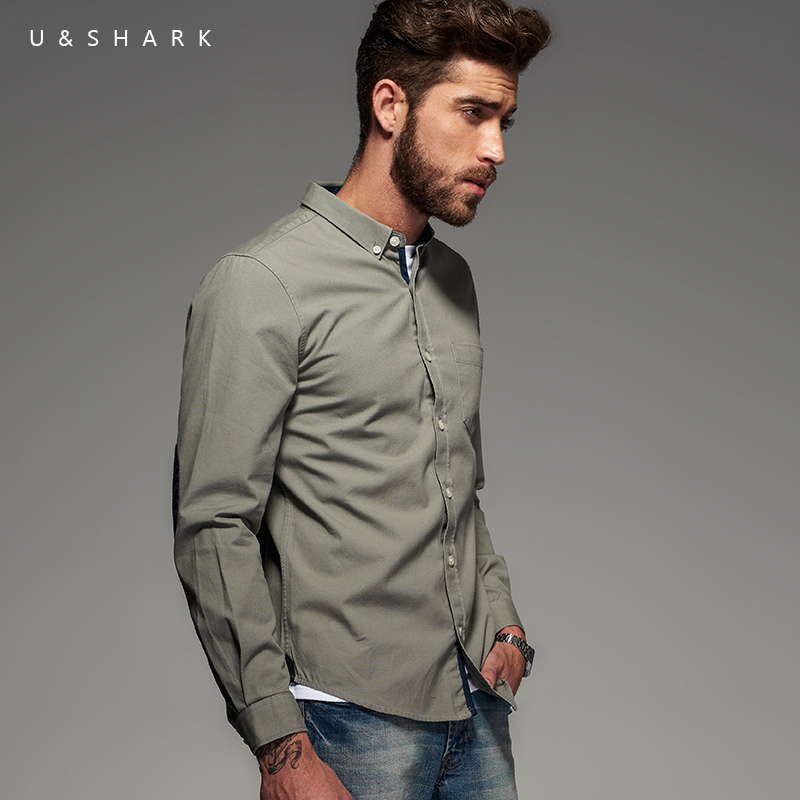 a1b654ba17 2016 Fall Vintage Italy Style Cotton Oxford Black Shirt Men Brand Blouse  U Shark Long Sleeve Designer Casual Shirt Male Chemise-in Casual Shirts  from Men s ...