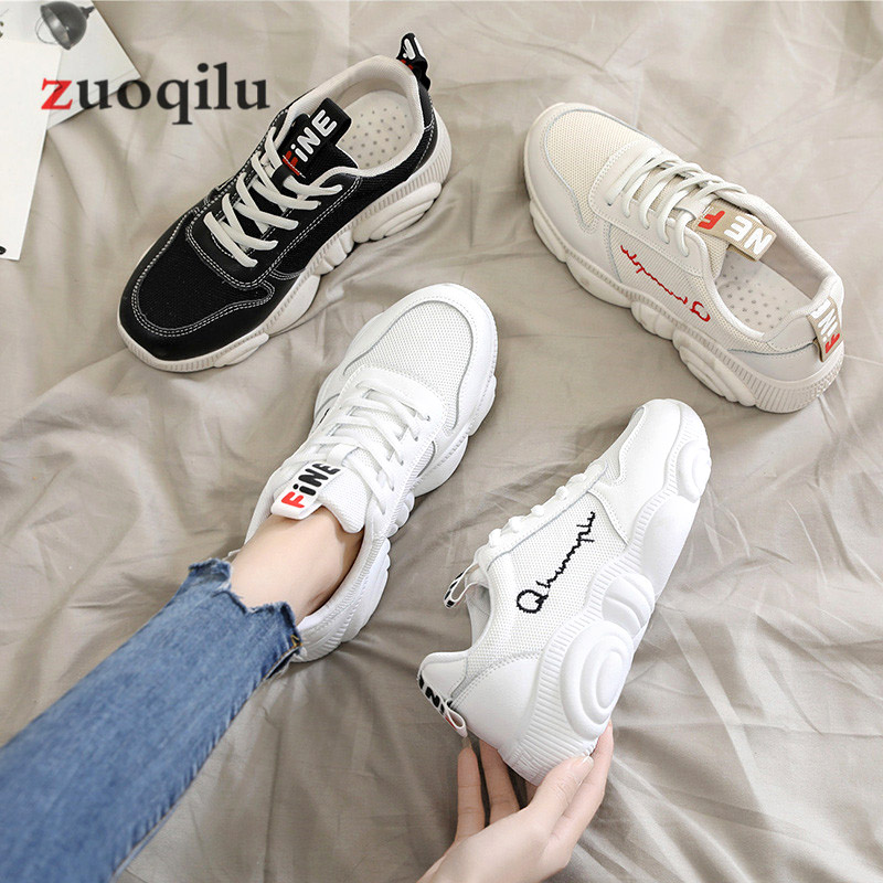 Women Casual Shoes 2019 Spring Mesh Platform Women Shoes Lace-Up Breathable Shoes Woman White Zapatillas Mujer 1