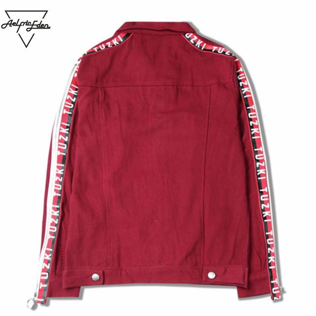 b69a6b21 Aelfric Eden Casual Cargo Denim Jacket Men Coats TUZKI Ribbon Iron Ring  Letter Printing Thin Autumn Outwear Male Jackets SNL661