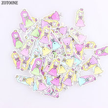 ZOTOONE 100pcs Mix Color Beautiful Princess Wooden Buttons for Sewing DIY Scrapbook 2 Holes Fit Crafts Kids E