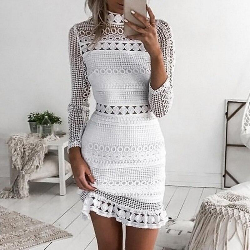 Vestidos de verão das mulheres sexy vestido bodycon manga longa plissado oco para fora crochê renda vestido de festa feminino vestidos 2019