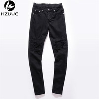 HZIJUE 2017 New Mens hip hop Pants stretch skinny ripped biker jeans Small buttom Kanye west denim jeans blue black male colors