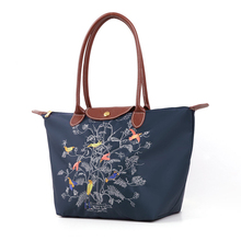 Exquisite Embroidered Tree Tote Bag Nylon PU Splicing Hand Bag For Women Durable Casual Foldable Large