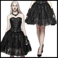 Панк рейв для женщин Готическая Лолита пикантная юбка с кружевом Вечеринка Femal плиссированная юбка