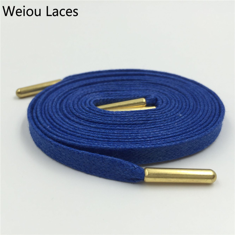 Купить со скидкой Weiou Close Mouth Gold Metal Aglets Bright Colored Waxed Dress Shoe Laces Black Boot Laces Cotton Sh