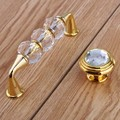 "96mm fashion deluxe glass crystal win cabinet dresser door handles silver golden drawer knobs pulls 3.75"" glass diamond handles"