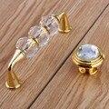 """96mm moda de luxo de cristal de vidro vitória gabinete dresser maçanetas de gaveta puxa maçanetas prata dourada 3.75 """"diamante de vidro alças"""
