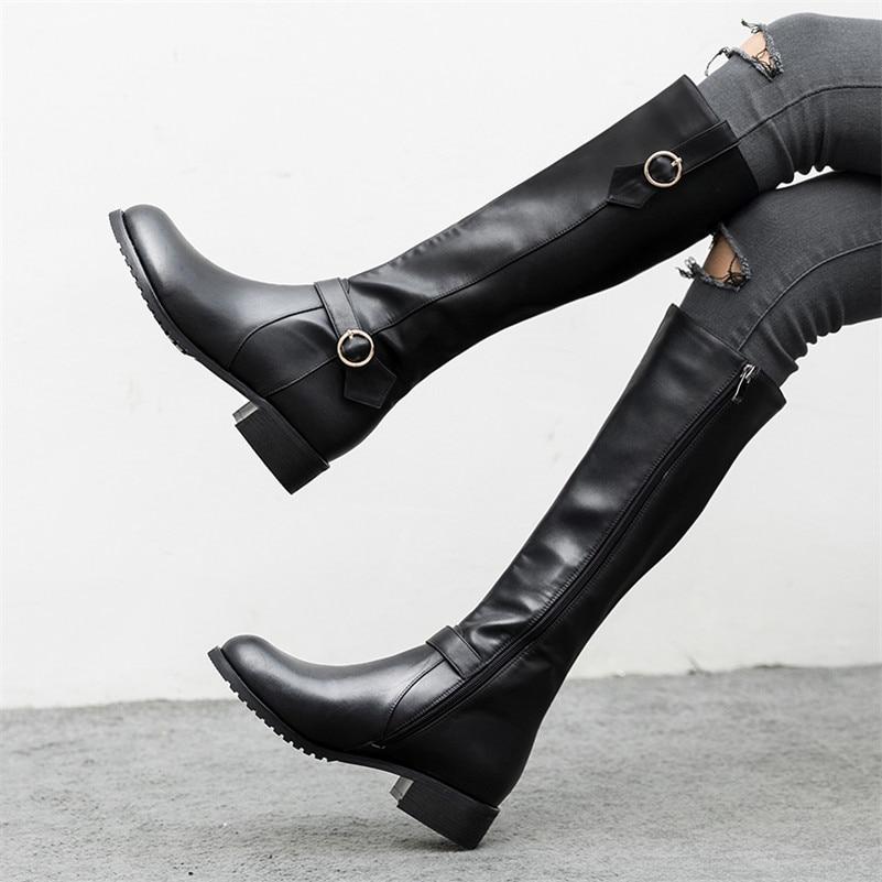 Heels Schuhe Motorrad Hohe Frau Schnallen Frauen Damen Conasco Warme Schwarzes Schnee High Stiefel Kniehohe Klassische Design Lange FP64fUwYq