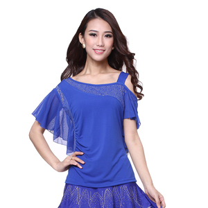Image 4 - Womens Square Dance clothing short sleeve Oblique shoulder tops Latin Dance Performing exercises Strapless Top/tees