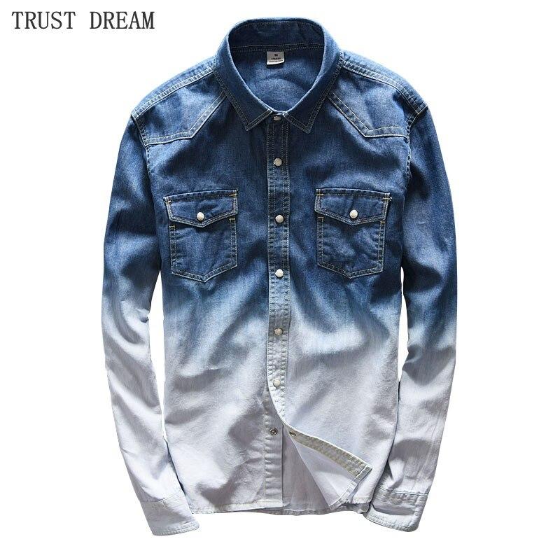 2018 nouveaux hommes Slim solide Denim chemises décontracté confortable contraste couleurs coton homme à manches longues mode incroyable Jeans chemise